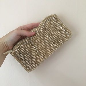 Vintage 1950's Champagne Pearl Beaded Clutch